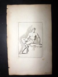 Sayer Compleat Drawing-Book 1757 Antique Print. Study of Body 47 Nudes